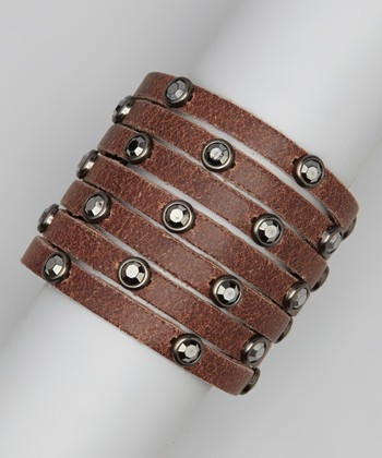 Brown Leather Hematite Stone Bracelet