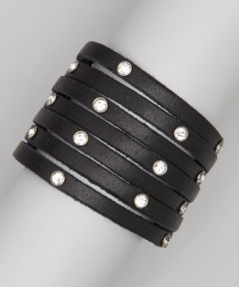 Black Leather Layered Rhinestone Bracelet