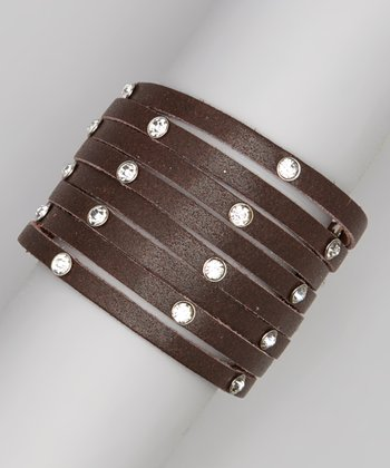 Brown Leather Layered Rhinestone Bracelet