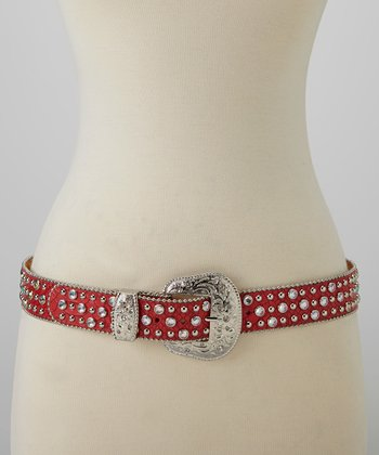Red Studded Rhinestone Crocodile Belt
