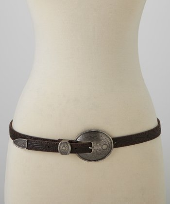 Brown Embossed Leather Round Buckle Belt