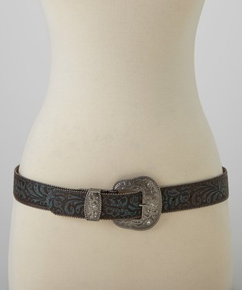 Brown & Blue Embossed Leather Western Buckle Belt