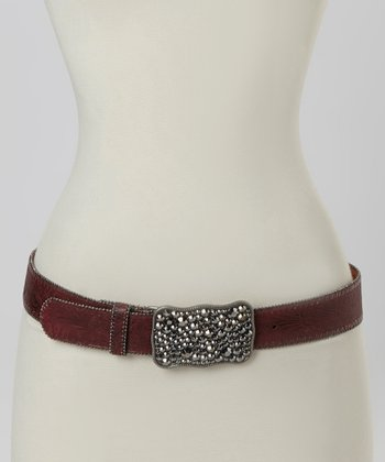 Red Embossed Leather Hematite Rectangle Buckle Belt