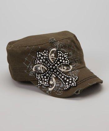Olive Rhinestone Cross Newsboy Hat
