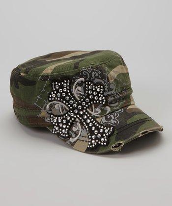 Green Camo Rhinestone Cross Newsboy Hat