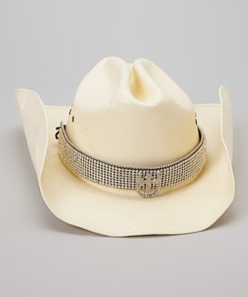 Silver Rhinestone Horseshoe & Cross Hat Band