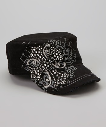 Gray & Black Rhinestone Cross Newsboy Hat