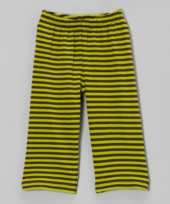 Brown & Green Stripe Organic Yoga Pants - Infant