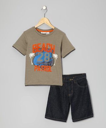 Brown 'Beach Patrol' Tee & Shorts - Toddler