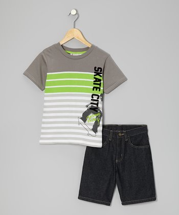 Gray & Lime 'Skate City' Tee & Shorts  - Toddler & Boys