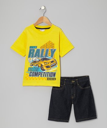 Yellow 'Extreme Rally' Tee & Shorts - Infant & Toddler