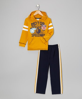 Yellow Motor Speedway Hoodie & Sweatpants - Boys