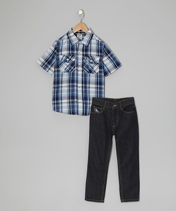 Blue Plaid Button-Up & Jeans - Toddler & Boys