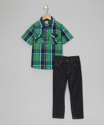 Light Green Plaid Button-Up & Jeans - Boys