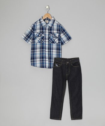 Blue & White Plaid Button-Up & Jeans - Toddler