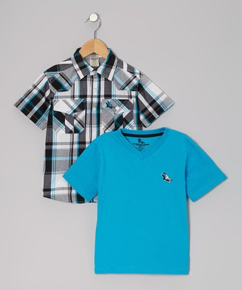 Blue Button-Up & Tee - Toddler & Boys