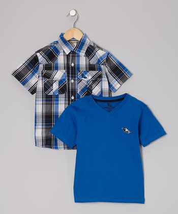 Royal Blue Button-Up & Tee - Toddler & Boys