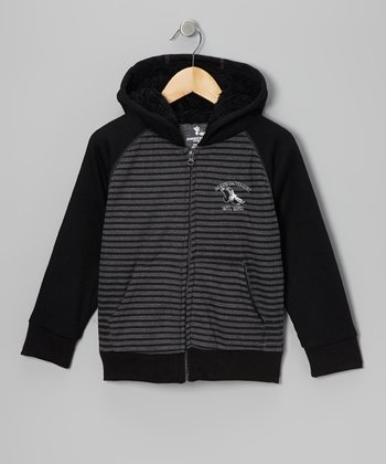 Black & Charcoal American Hawk Zip-Up Hoodie - Boys