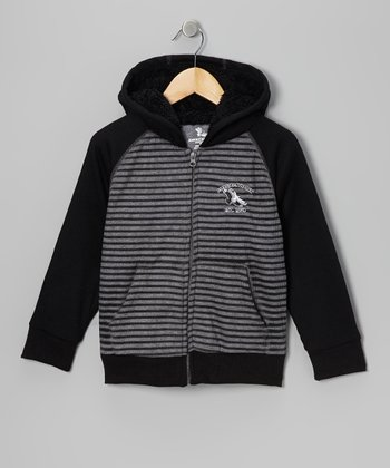 Black & Gray American Hawk Zip-Up Hoodie - Boys