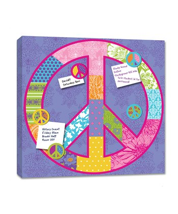 Purple Peace Sign Magnetic Memo Board