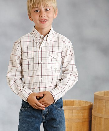 Red Alameda Plaid Button-Up - Boys