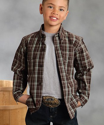 Brown & White Plaid Button-Up - Boys