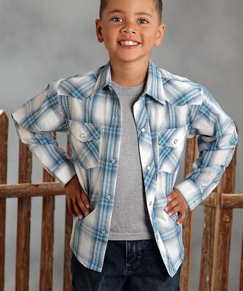 Light Blue & White Plaid Button-Up - Boys