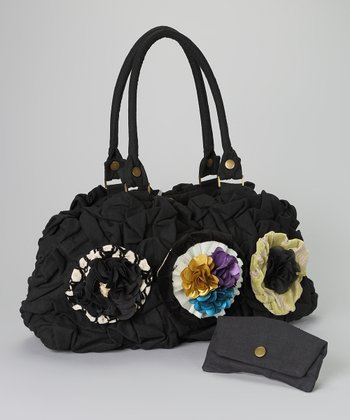 Black Linen Blue Flower Tori Oversized Tote & Wallet