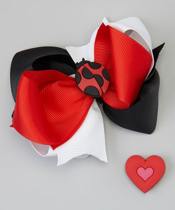 Red & Black Bow Clip Set
