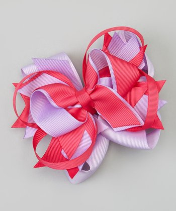Pink & Purple Bow Clip