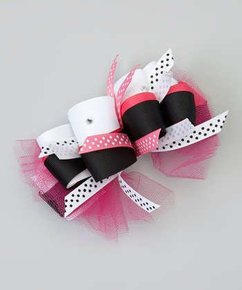 Hot Pink & Black Polka Dot Bow Clip