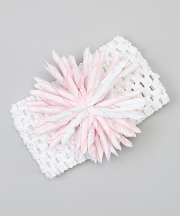 Light Pink & White Korker Bow Crochet Headband