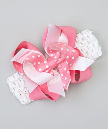 Hot Pink & White Polka Dot Bow Headband