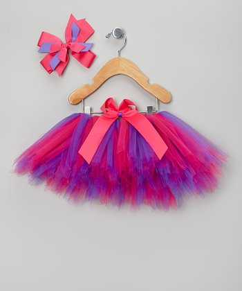 Hot Pink & Purple Tutu & Bow Clip - Infant, Toddler & Girls