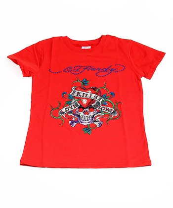 Red 'Love Kills Slowly' Sparkle Tee - Kids