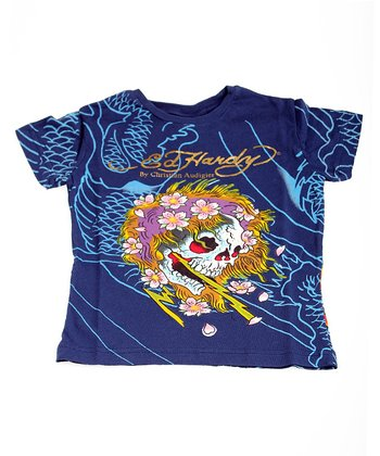 Navy Lightning Skull Tee - Toddler & Boys