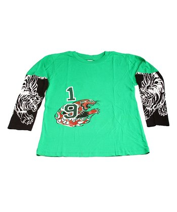 Green & Black Tiger Layered Tee - Boys