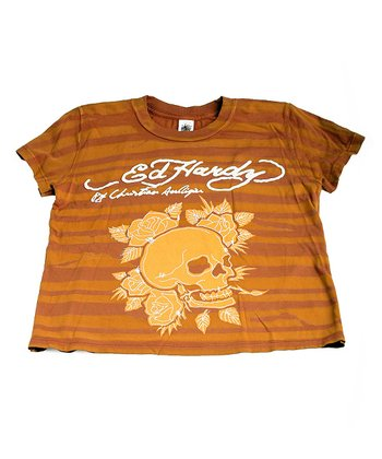 Tan & Orange Stripe Skull Tee - Kids