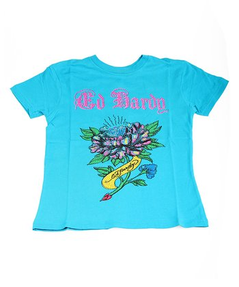 Teal Diamond Flower Sparkle Tee - Girls