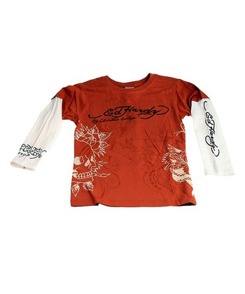 Brown Skull Outline Layered Tee - Toddler & Boys
