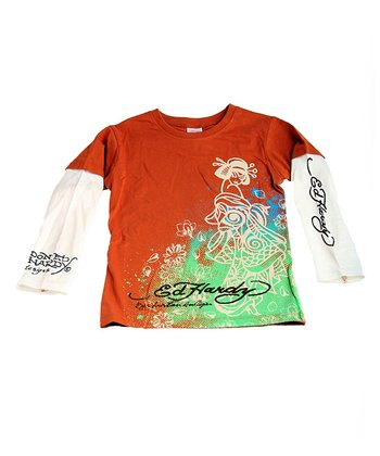 Tan & Mint Geisha Layered Tee - Toddler & Boys