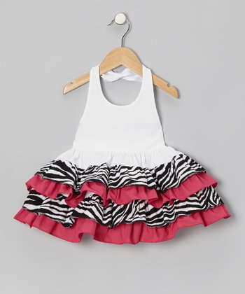 Hot Pink Zebra Ruffle Halter Dress - Infant, Toddler & Girls