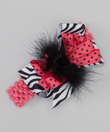 Hot Pink Zebra Bow Headband