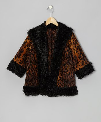 Black Leopard Faux Fur Swing Jacket - Infant, Toddler & Girls