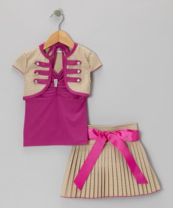 Pink Bow Skirt Set - Toddler & Girls