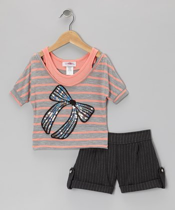Coral Stripe Layered Top & Shorts - Toddler & Girls