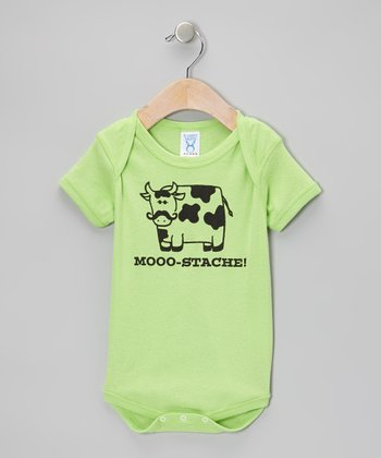 Key Lime 'Mooo-Stache!' Bodysuit - Infant