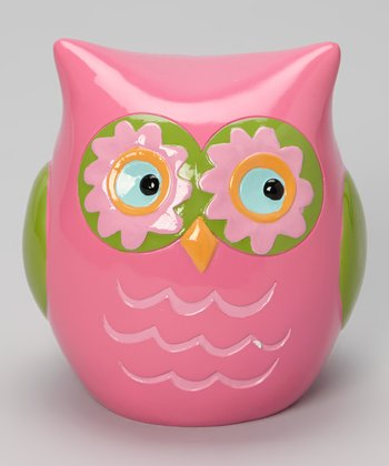 Pink & Green Owl Bank