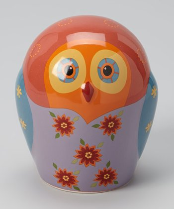 Blue & Brown Flower Owl Bank