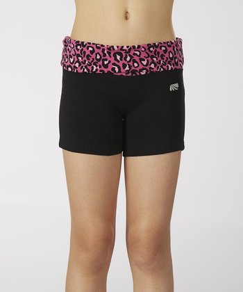 Pink & Black Party Animal Fold-Over Shorts